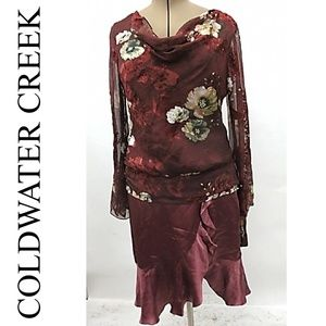 NWT COLDWATER CREEK WINE FLORAL COWL NECK TOP